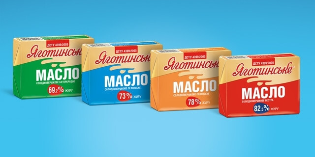 Dairy butter TM Yagotynske in new convenient packaging